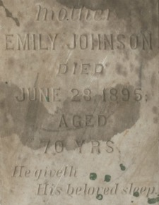Close-Up of Emily Johnson's Headstone