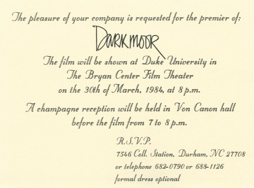 Invitation to Darkmoor premiere, March 30, 1984.