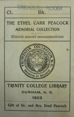 Ethel Carr Peacock Memorial Collection Bookplate