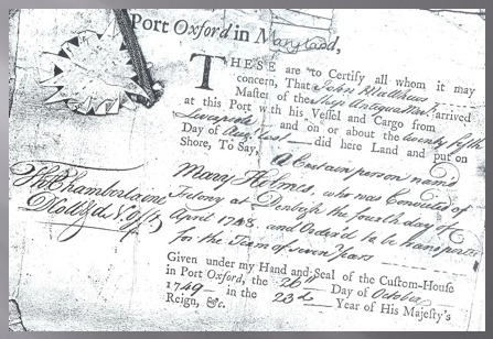 Image of Landing certificate for Mary Holmes