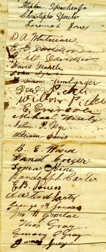 Signatures to the 1864 Petition from the Citizens of Cripple Creek.