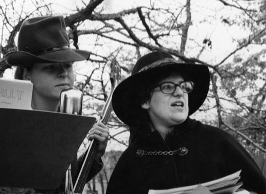 Frances Ansley and Meredith Tax at a Bread & Roses-organized protest in 1970. Ansley will also speak at the upcoming symposium.