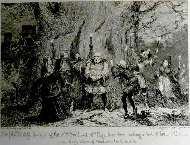 An etching by Cruikshank representing Act V, Scene V of Shakespeare's The Merry Wives of Windsor