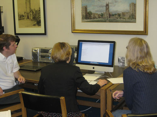 Rubenstein Library Research Services staff check out the reading room's new e-records computer work station.