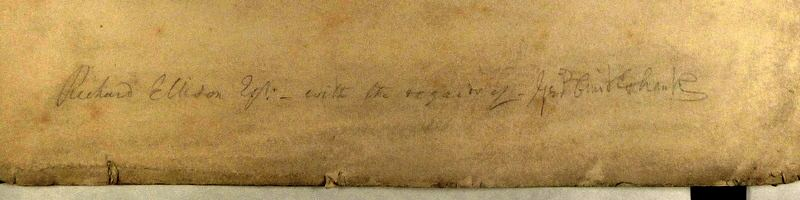 Autograph Signature: George Cruikshank's signature in a dedication written in pencil along the bottom of the print.
