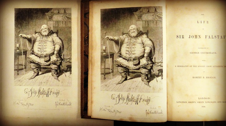 Large-scale printed version of Cruikshank's etching, next to the printed frontispiece of Robert Brough's The Life of Sir John Falstaff: A Biography of the Knight from Authentic Sources of 1858.