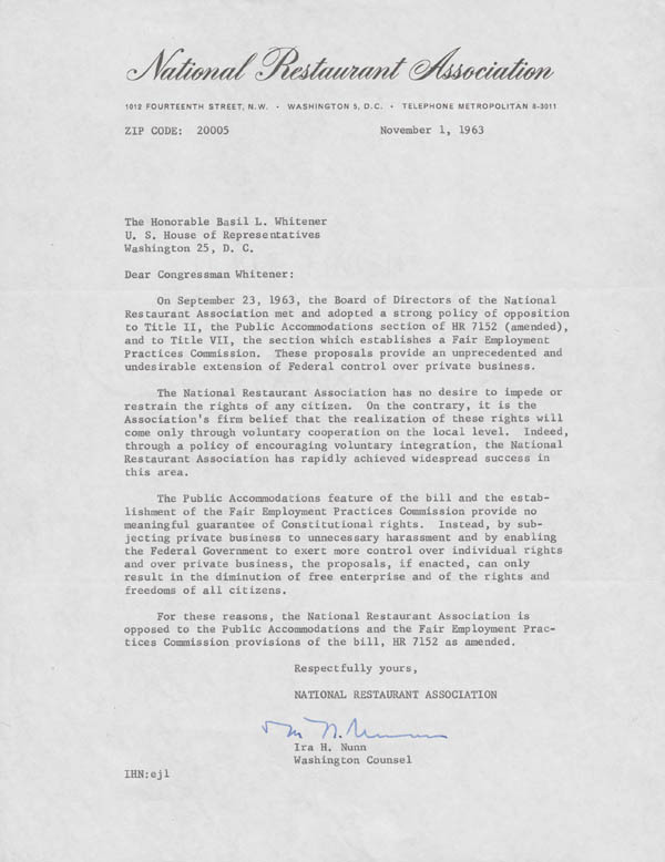 Letter, Ira H. Nunn of the National Restaurant Association to Basil Lee Whitener, November 1, 1963.  From the Basil Lee Whitener Papers