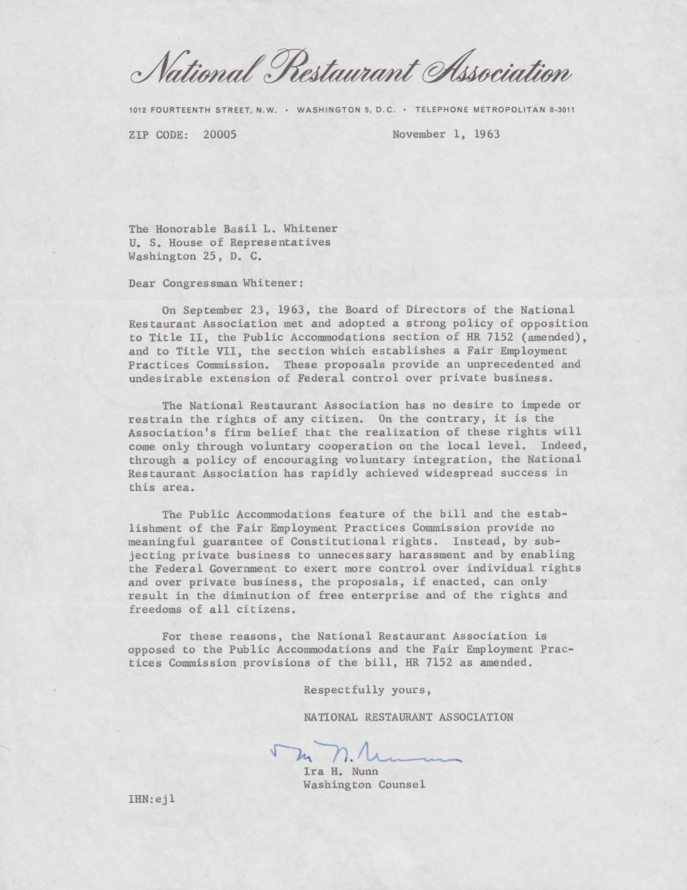 digitizing the lcrm update the devil s tale letter ira h nunn of the national restaurant association to basil lee whitener 1 1963 from the basil lee whitener papers click to enlarge