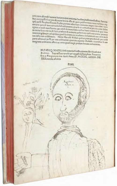 Self-portrait by Augustino Pistoia, in Quintilian, Institutiones Orationae (1482).
