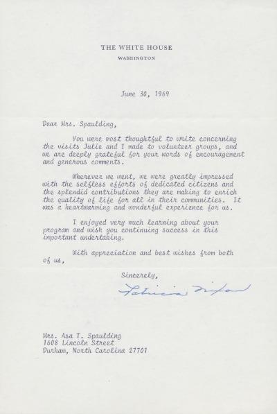 Letter, Patricia Nixon to Elna Spaulding