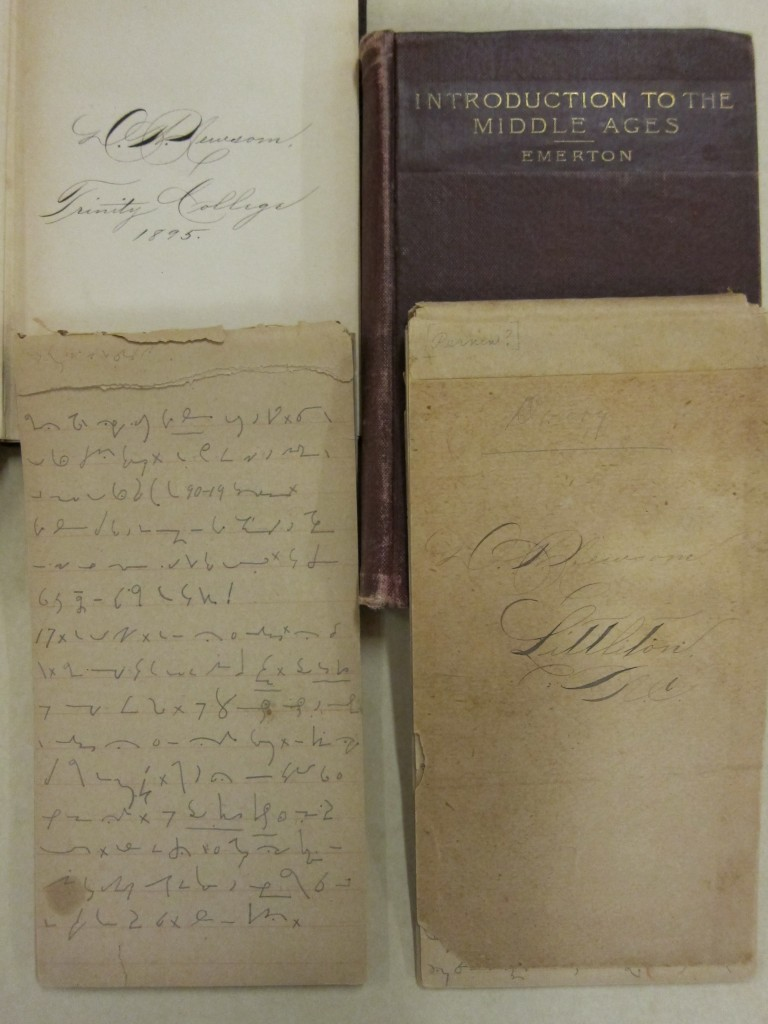 Newsom's diary, in bottom left, with Trinity textbooks from the 1890s.