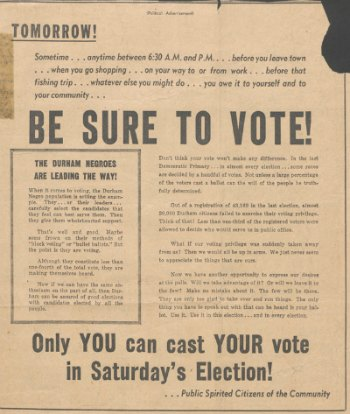Political Advertisements, Undetermined Newspaper, [May 1949?]:  