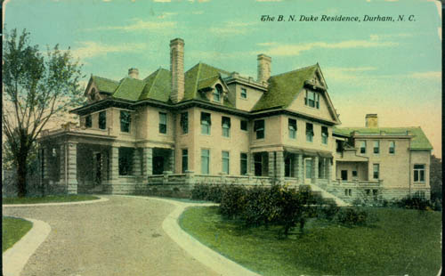 Postcard of Four Acres, the home of Benjamin Newton Duke.
