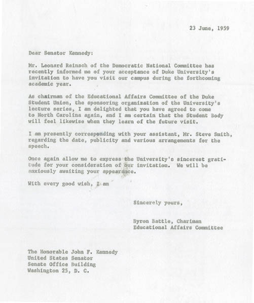 Letter, Byron Battle to John F. Kennedy, June 23, 1959. From the Duke University Union Records