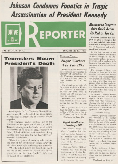 Issue of DRIVE Reporter, December 15, 1963, published by the International Brotherhood of Teamsters.  Basil Lee Whitener Papers, Box 143, Folder 4:  blwms02004082