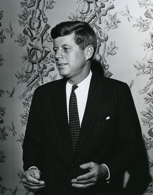 Senator John F. Kennedy before his address in Page Auditorium, December 2, 1959.