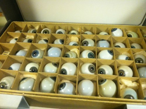 Our collection of glass eyeballs, a perennial favorite from the History of Medicine Collections, has also made the move.