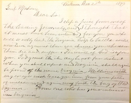 Letter in William Mahone Papers 1853-1895, Box 17, folder 1879, Dec. 16-20.