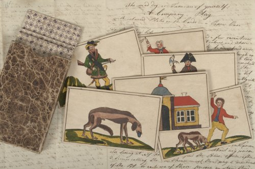 "Cards and instructions for ""The Mad Dog,"" ca. late 1700s."