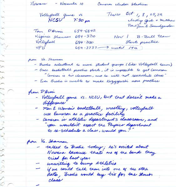 Notes about possible Nirvana concert, 1991? From the Duke University Union Records.