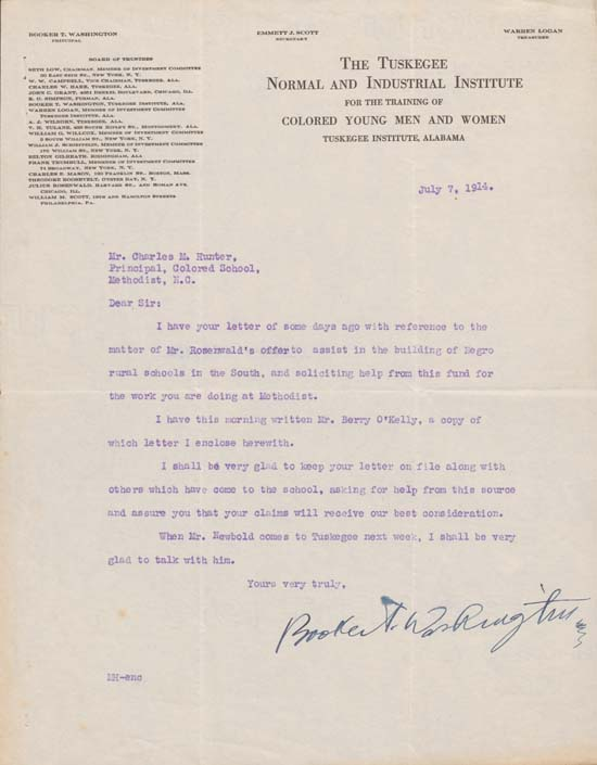 Letter, Booker T. Washington to Charles N. Hunter, July 7, 1914.  Charles N. Hunter Papers