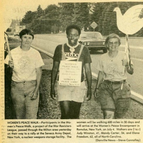 From left to right: Judy Winston, Mandy Carter, Elana Freedom. The trio completed the entire 600+ mile walk. Along the way, other women joined for a day, weekend, week, or longer. Newspaper clipping, 1983, Mandy Carter Papers