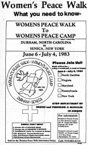 Women's Peace Walk brochure, 1983.  From the Mandy Carter Papers.