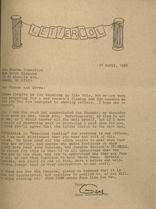 Letter from Gene Roddenberry