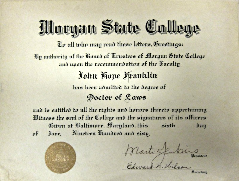 Franklin's honorary degree from Morgan State College, 1960.