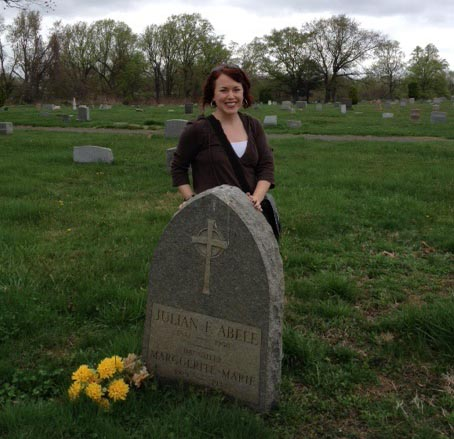 Kim Sims visits Julian Abele's grave.