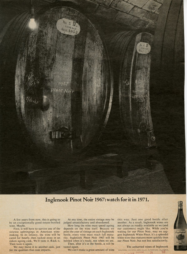 Advertisement for Inglenook Pinot Noir