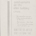 Flyer in opposition to Allen Building Takeover Questionnaire, February 1969. From the Allen Building Takeover Collection.