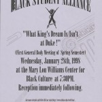 Flyer for student life discussion, Black Student Alliance, January 1998. From the Black Student Alliance Records.