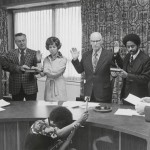 Photograph, Elna Spaulding is sworn in as Durham County Commissioner, undated. From the Asa and Elna Spaulding Papers.