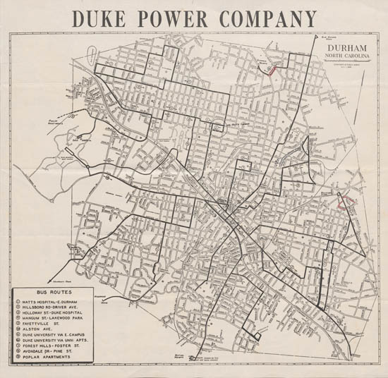 Map of Durham, Duke Power Company, May 1, 1948. From the Rencher Nicholas Harris Papers.