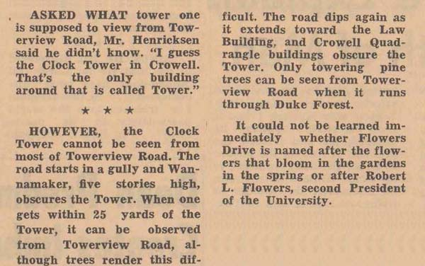 Article about Towerview Road, The Chronicle, March 1, 1963.