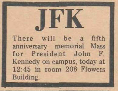 Notice of memorial mass at the 5th anniversary of President Kennedy's assassination, The Chronicle, November 22, 1968.