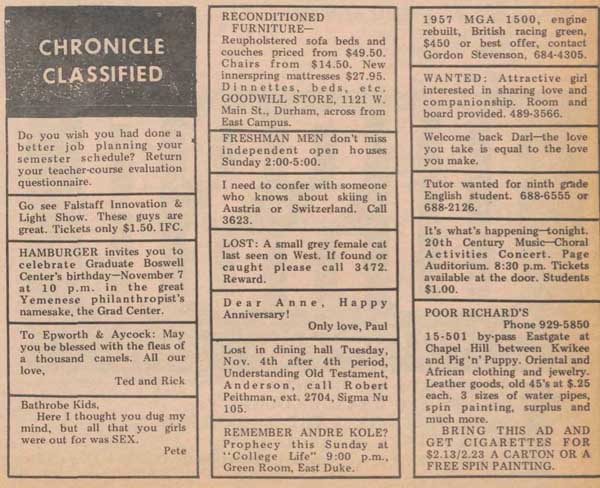 Chronicle Classifieds, November 7, 1969