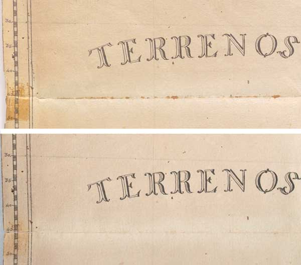 "Detail of ""Terrenos Incognito,"" Before and After Treatment"