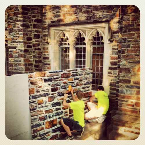 Duke Stone panels being applied. Photo by Aaron Welborn.
