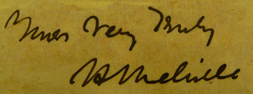 Melville's signature, clipped and pasted into the Rubenstein copy of the first edition of Moby-Dick by a collector.