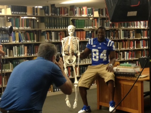 Kenny with the Athletic Department's skeleton
