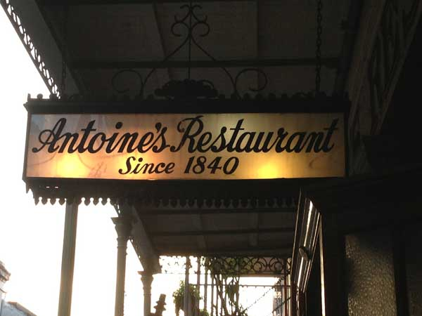 Sign for Antoine's Restaurant