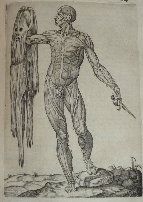 A man holding his own flayed skin will be there. Will you? (From Juan Valverde de Amusco, Anatomia del Corpo Humano, 1560, in the History of Medicine Collections.