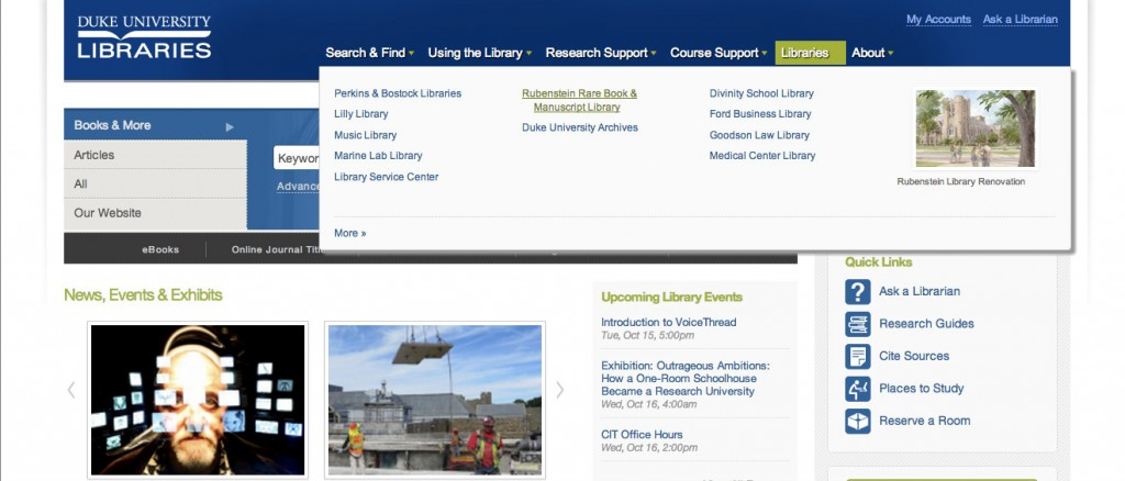 Main Library Homepage