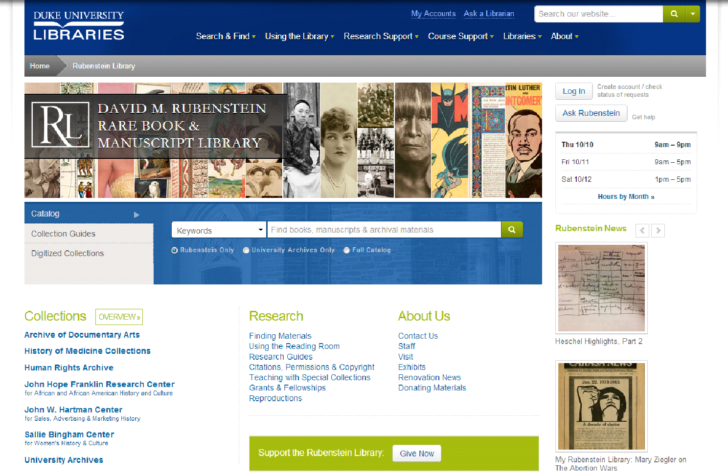New Rubenstein Library Homepage