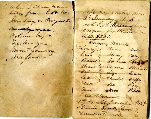 The notebook of a slave transporter who delivered twenty-five slaves from Lancaster, South Carolina to Montgomery, Alabama in 1845.