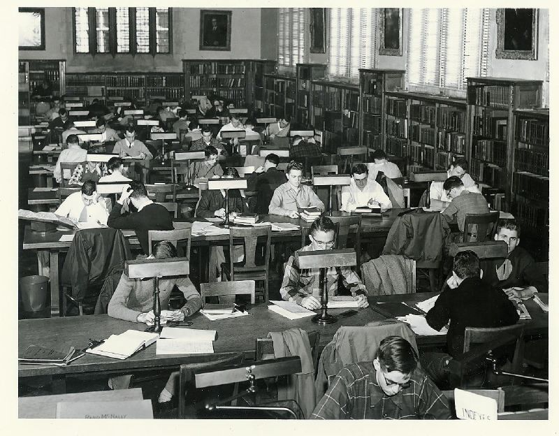 The reference room for the General Library, now known as the Gothic Reading Room.