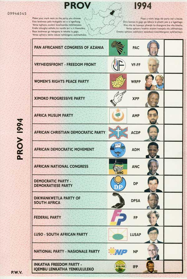 South African provincial election ballots, 1994, Nelson Mandela is listed as the candidate for the African National Congress
