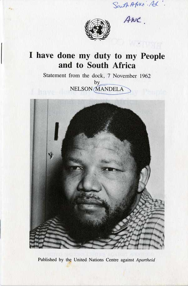 """I have done my duty to my People and South Africa,"" pamphlet by Nelson Mandela, 1962, Leroy T. Walker Africa News Service Archive"